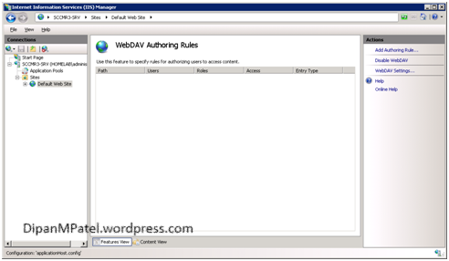 Configuring WebDAV settings on Windows Server 2008 R2