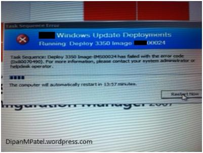 Task Sequence has failed with error code 0X80070490 | Dipan